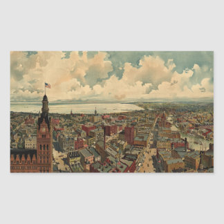 Vintage Pictorial Map of Milwaukee WI (1898) Rectangular Sticker