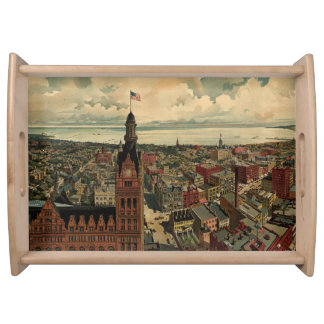 Vintage Pictorial Map of Milwaukee WI (1898) Serving Tray