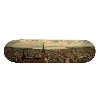Vintage Pictorial Map of Milwaukee WI (1898) Skateboard