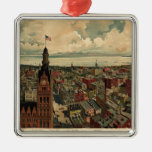 Vintage Pictorial Map of Milwaukee WI (1898) Square Metal Christmas Ornament