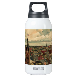 Vintage Pictorial Map of Milwaukee WI (1898) Thermos Water Bottle
