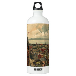 Vintage Pictorial Map of Milwaukee WI (1898) Water Bottle