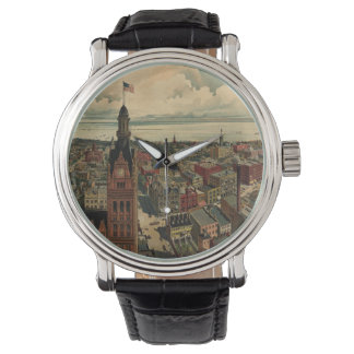 Vintage Pictorial Map of Milwaukee WI (1898) Wristwatches