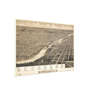 Vintage Pictorial Map of Minneapolis MN (1879) Canvas Print