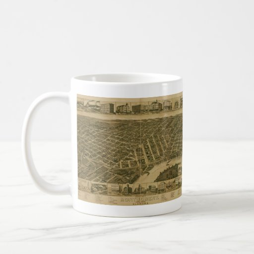 Vintage Pictorial Map of Montgomery Alabama (1887) Classic White Coffee Mug