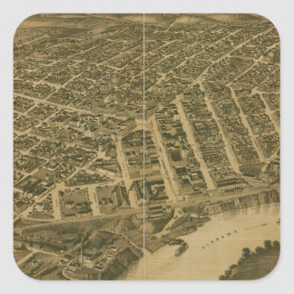 Vintage Pictorial Map of Montgomery Alabama (1887) Square Sticker