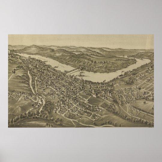 Vintage Pictorial Map of Morgantown WV (1897) Poster