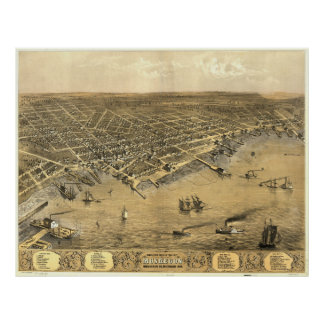 Vintage Pictorial Map of Muskegon Michigan (1868) Poster