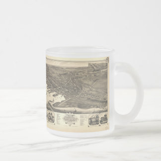 Vintage Pictorial Map of Nantucket (1881) 10 Oz Frosted Glass Coffee Mug