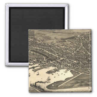 Vintage Pictorial Map of Nantucket (1881) 2 Inch Square Magnet