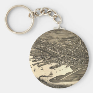 Vintage Pictorial Map of Nantucket (1881) Basic Round Button Keychain