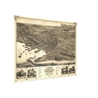 Vintage Pictorial Map of Nantucket (1881) Canvas Print