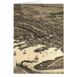 Vintage Pictorial Map of Nantucket (1881) Greeting Card