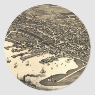 Vintage Pictorial Map of Nantucket (1881) Classic Round Sticker