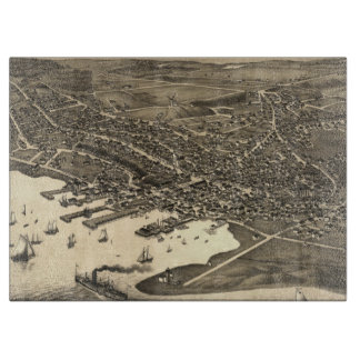 Vintage Pictorial Map of Nantucket (1881) Cutting Board
