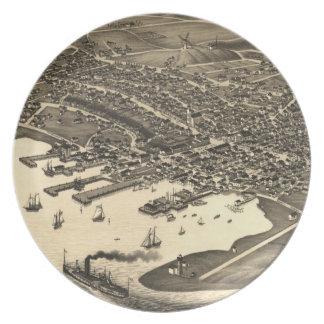 Vintage Pictorial Map of Nantucket (1881) Dinner Plate