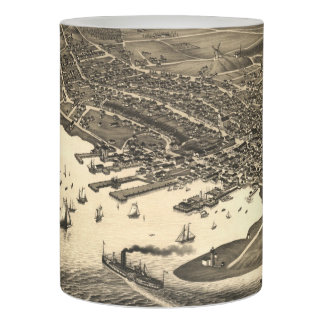 Vintage Pictorial Map of Nantucket (1881) Flameless Candle