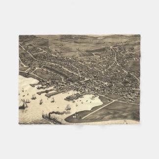 Vintage Pictorial Map of Nantucket (1881) Fleece Blanket