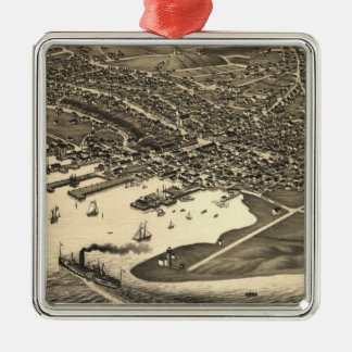 Vintage Pictorial Map of Nantucket (1881) Square Metal Christmas Ornament