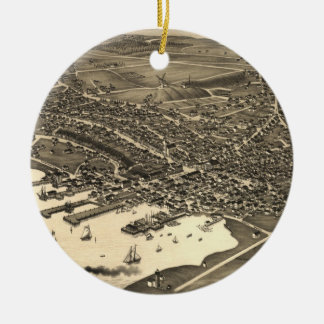 Vintage Pictorial Map of Nantucket (1881) Double-Sided Ceramic Round Christmas Ornament