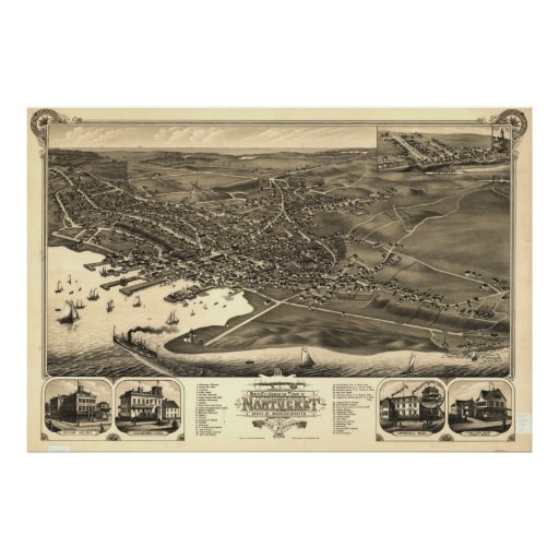 Vintage Pictorial Map of Nantucket (1881) Poster