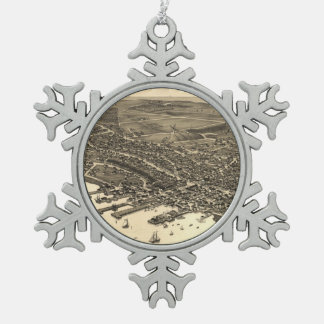 Vintage Pictorial Map of Nantucket (1881) Snowflake Pewter Christmas Ornament