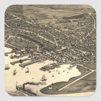 Vintage Pictorial Map of Nantucket (1881) Square Sticker