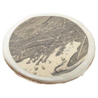 Vintage Pictorial Map of Nantucket (1881) Sugar Cookie