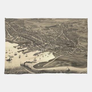 Vintage Pictorial Map of Nantucket (1881) Towels