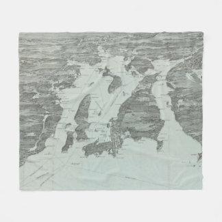 Vintage Pictorial Map of Narragansett Bay (1907) Fleece Blanket