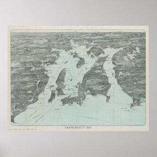 Vintage Pictorial Map of Narragansett Bay (1907) Poster