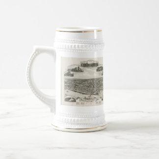 Vintage Pictorial Map of Narragansett RI (1888) Beer Stein