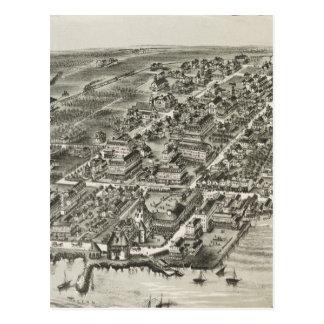 Vintage Pictorial Map of Narragansett RI (1888) Postcard