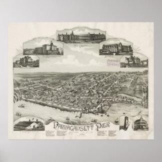Vintage Pictorial Map of Narragansett RI (1888) Poster