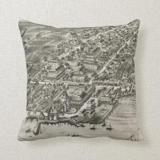 Vintage Pictorial Map of Narragansett RI (1888) Throw Pillow