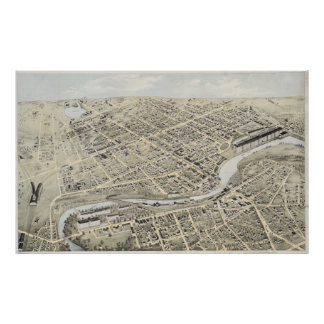Vintage Pictorial Map of Nashua NH (1875) Poster