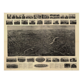 Vintage Pictorial Map of Naugatuck CT (1906) Poster