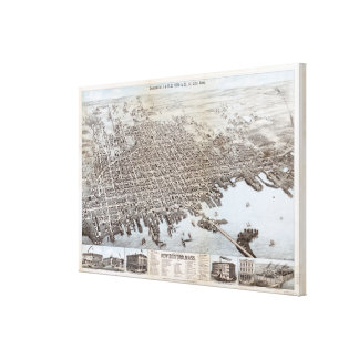 Vintage Pictorial Map of New Bedford MA (1876) Canvas Print