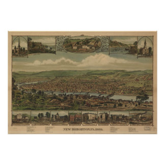 Vintage Pictorial Map of New Brighton PA (1883) Poster