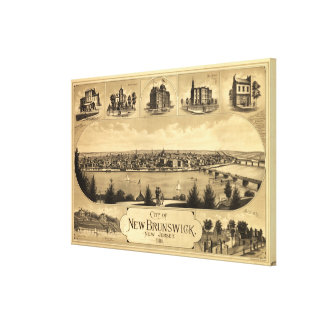 Vintage Pictorial Map of New Brunswick NJ (1880) Canvas Print