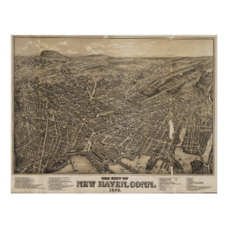 Vintage Pictorial Map of New Haven CT (1879) Poster