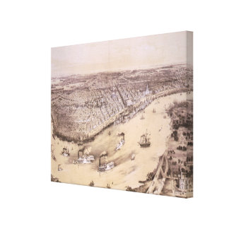 Vintage Pictorial Map of New Orleans (1851) Canvas Print