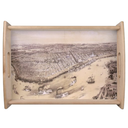 Vintage Pictorial Map of New Orleans (1851) Serving Tray