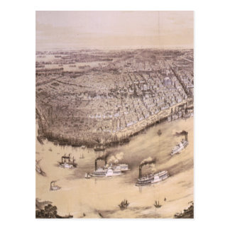 Vintage Pictorial Map of New Orleans (1851) Post Card
