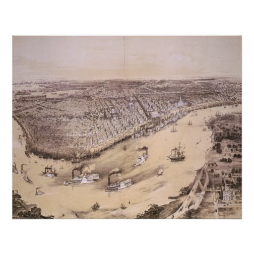 Vintage Pictorial Map of New Orleans (1851) Poster