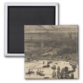 Vintage Pictorial Map of New Orleans (1884) 2 Inch Square Magnet