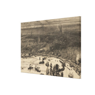 Vintage Pictorial Map of New Orleans (1884) Gallery Wrap Canvas