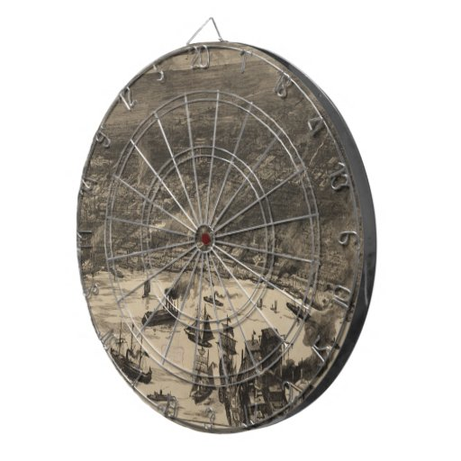 Vintage Pictorial Map of New Orleans (1884) Dartboard With Darts