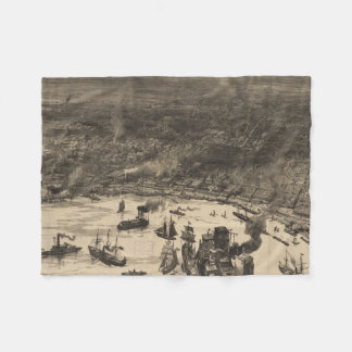Vintage Pictorial Map of New Orleans (1884) Fleece Blanket