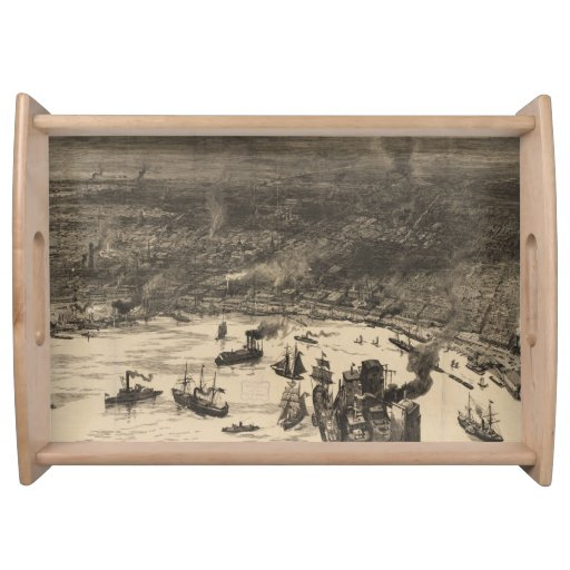 Vintage Pictorial Map of New Orleans (1884) Service Tray